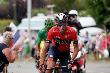 Italy's Vincenzo Nibali (R) of Bahrain Merida team and Slovakia's Peter Sagan (L) of Bora Hansgrohe team in action during the 14th stage of the 106th edition of the Tour de France cycling race over 117.5km between Tarbes and Col du Tourmalet, France, 20 July 2019.