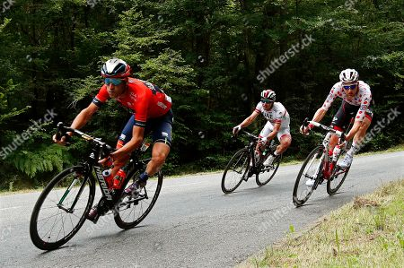 Italy's Vincenzo Nibali (L) of the Bahrain Merida team, Colombia's Sergio Henao (C) of the UAE Team Emirates and Belgium's Tim Wellens (R) of the Lotto Soudal team in action during the 14th stage of the 106th edition of the Tour de France cycling race over 117,5km between Tarbes and Col du Tourmalet, France, 20 July 2019.