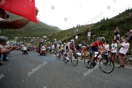 Italy's Vincenzo Nibali (R) of Bahrain Merida team and Belgium's Tim Wellens (C) of Lotto Soudal team in action during the 14th stage of the 106th edition of the Tour de France cycling race over 117.5km between Tarbes and Col du Tourmalet, France, 20 July 2019.