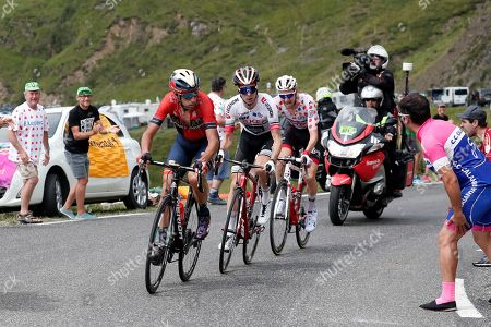 (L-R) Italy's Vincenzo Nibali (R) of Bahrain Merida team, France?s Elie Gesbert of team Arkea Samsic and Belgium's Tim Wellens of Lotto Soudal team in action during the 14th stage of the 106th edition of the Tour de France cycling race over 117,5km between Tarbes and Col du Tourmalet, France, 20 July 2019.