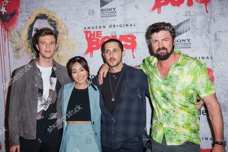 Jack Quaid, Karen Fukuhara, Tomer Kapon and Karl Urban