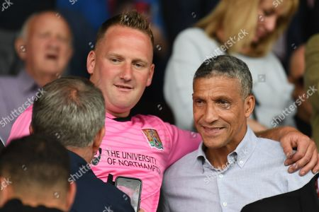Former Brighton manager Chris Hughton poses for a picture in the stand during the Pre-Season Friendly match between Northampton Town and Sheffield United at the PTS Academy Stadium, Northampton