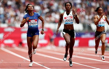 Stock Image of Stephanie Ann McPherson and Shericka Jackson of Jamaica during the Womens 400m.
