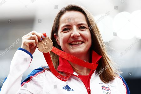 Goldie Sayers of Great Britain celebrates after being awarded a Javelin Bronze Medal from the 2008 Olympics.
