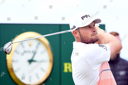 Tyrrell Hatton of England tees off during the third day of the British Open Golf Championship at Royal Portrush, Northern Ireland, 20 July 2019.