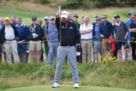 Stock Image of JB Holmes of the US lines up a putt during the third day of the British Open Golf Championship at Royal Portrush, Northern Ireland, 20 July 2019.