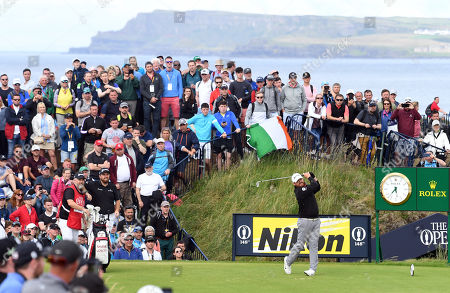 JB Holmes of the US tees off during the third day of the British Open Golf Championship at Royal Portrush, Northern Ireland, 20 July 2019.