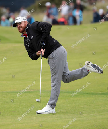 JB Holmes of the US plays from the fairway during the third day of the British Open Golf Championship at Royal Portrush, Northern Ireland, 20 July 2019.