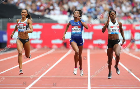 (L-R) Laviai Nielsen of Great Britain, Stephenie Ann McPherson of Jamaica and Shericka Jackson of Jamaica during the Womens 400m