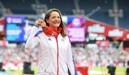 Stock Picture of Goldie Sayers of Great Britain celebrates after being awarded a Javelin Bronze Medal from the 2008 Olympics.