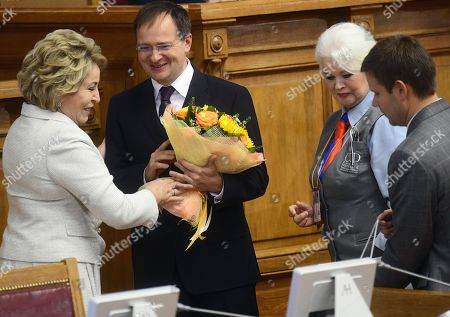 Chairman of the Federation Council of Russia Valentina Matviyenko and Minister of Culture Vladimir Medinsky at the forum.