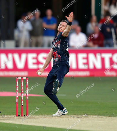 Adam Milne bowls for Kent during Kent Spitfires vs Somerset, Vitality Blast T20 Cricket at the St Lawrence Ground on 20th July 2019