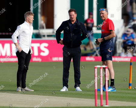 Ex Kent player Rob Key (C) in discussion with Sam Billings (L) and Kent Assistant coach Allan Donald (R) during Kent Spitfires vs Somerset, Vitality Blast T20 Cricket at the St Lawrence Ground on 20th July 2019