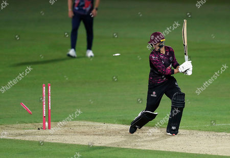 Max Waller of Somerset is bowled by Adam Milne during Kent Spitfires vs Somerset, Vitality Blast T20 Cricket at the St Lawrence Ground on 20th July 2019