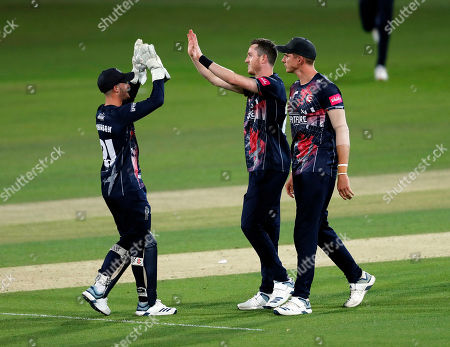 Adam Milne (2nd R) is congratulated by Ollie Robinson (L) after bowling Jerome Taylor during Kent Spitfires vs Somerset, Vitality Blast T20 Cricket at the St Lawrence Ground on 20th July 2019