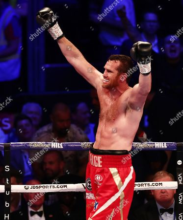 David Price celebrates winning his Vacant WBA Continental Heavyweight Championship undercard fight against Dave Allen.