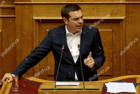 Leader of the main opposition SYRIZA party Alexis Tsipras addresses lawmakers during a parliamentary session in Athens, Saturday, July 20, 2019. Tsipras said that It is the first parliament after ten years in Greece that has regained its economic sovereignty and has exited the memoranda.