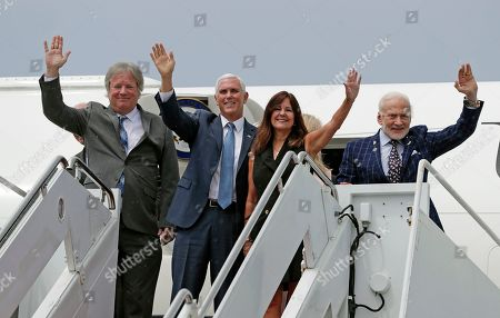 Rick Armstrong, Mike Pence, Karen Pence, Buzz Aldrin. Rick Armstrong, from left, son of Apollo 11 astronaut Neil Armstrong, Vice President Mike Pence, his wife Karen Pence and Apollo 11 astronaut Buzz Aldrin arrive at the Kennedy Space Center for a visit to recognize the Apollo 11 anniversary, in Cape Canaveral, Fla