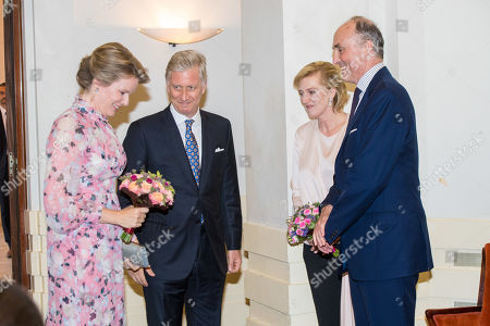 King Philippe, Queen Mathilde, Princess Astrid and Prince Lorenz during Preludium concert prior to the National Day of Belgium at the Royal Museums of Fine Arts of Belgium