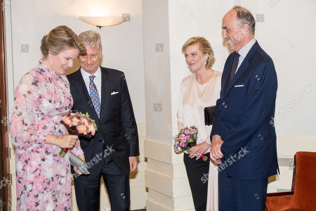 Stock Photo of King Philippe, Queen Mathilde, Princess Astrid and Prince Lorenz during Preludium concert prior to the National Day of Belgium at the Royal Museums of Fine Arts of Belgium