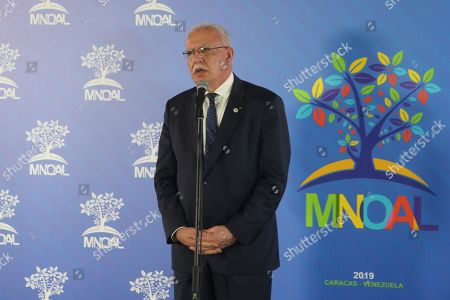 Palestinian Minister of Foreign Affairs Riyad al-Maliki speaks during the meeting of the Non-Aligned Movement (NAM) coordination bureau, in Caracas, Venezuela, 20 July 2019.