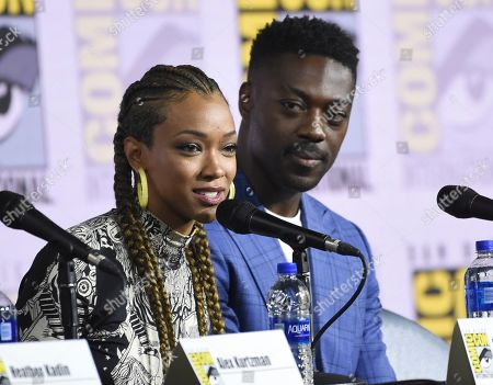 "Sonequa Martin-Green, David Ajala. Sonequa Martin-Green, left, and David Ajala participate in the ""Star Trek: Discovery"" portion of the Enter the ""Star Trek"" Universe panel on day three of Comic-Con International, in San Diego"