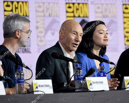 "Alex Kurtzman, Patrick Stewart, Isa Briones. Alex Kurtzman, from left, Patrick Stewart and Isa Briones participate in the ""Star Trek: Picard"" portion of the Enter the ""Star Trek"" Universe panel on day three of Comic-Con International, in San Diego"