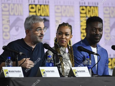 "Alex Kurtzman, Sonequa Martin-Green, David Ajala. Alex Kurtzman, from left, Sonequa Martin-Green and David Ajala participate in the ""Star Trek: Discovery"" portion of the Enter the ""Star Trek"" Universe panel on day three of Comic-Con International, in San Diego"