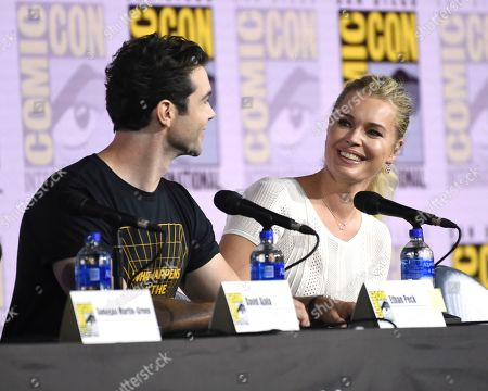 "Ethan Peck, Rebecca Romijn. Ethan Peck, left, and Rebecca Romijn participate in the ""Star Trek: Discovery"" portion of the Enter the ""Star Trek"" Universe panel on day three of Comic-Con International, in San Diego"