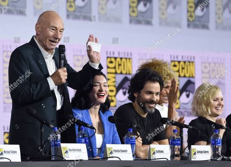 """Patrick Stewart, Isa Briones, Santiago Cabrera, Michelle Hurd, Alison Pill. Patrick Stewart, from left, Isa Briones, Santiago Cabrera, Michelle Hurd and Alison Pill participate in the """"Star Trek: Picard"""" portion of the Enter the """"Star Trek"""" Universe panel on day three of Comic-Con International, in San Diego"""