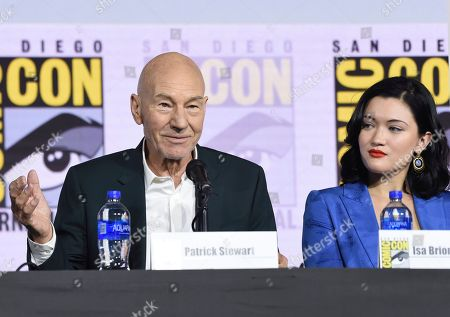"""Stock Image of Patrick Stewart, Isa Briones. Patrick Stewart, left, and Isa Briones participate in the """"Star Trek: Picard"""" portion of the Enter the """"Star Trek"""" Universe panel on day three of Comic-Con International, in San Diego"""