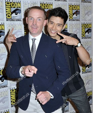 """Marc Evan Jackson, Manny Jacinto. Marc Evan Jackson, left, and Manny Jacinto arrive at """"The Good Place"""" press line on day three of Comic-Con International, in San Diego"""
