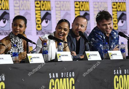 "Thandiwe Newton, Tessa Thompson, Jesse Pinkman, Luke Hemsworth. Thandiwe Newton, from left, Tessa Thompson, Jesse Pinkman and Luke Hemsworth participate in the ""Westworld"" season 3 panel on day three of Comic-Con International, in San Diego"
