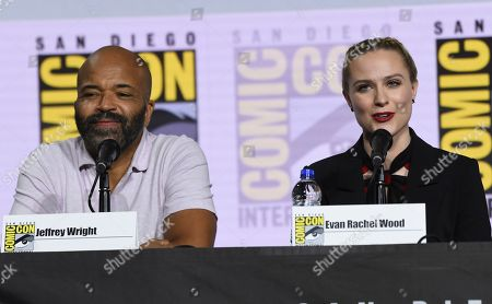 "Stock Image of Jeffrey Wright, Evan Rachel Wood. Jeffrey Wright, left, and Evan Rachel Wood participate in the ""Westworld"" season 3 panel on day three of Comic-Con International, in San Diego"