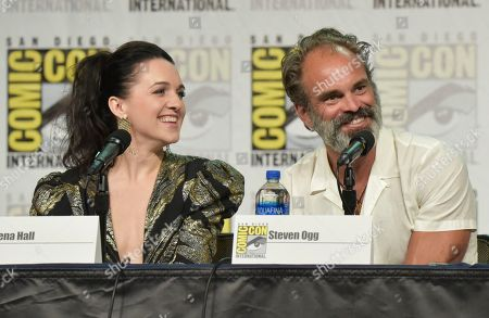 "Lena Hall, Steven Ogg. Lena Hall, left, and Steven Ogg participate in the ""Snowpiercer"" panel on day three of Comic-Con International, in San Diego"