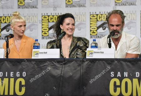 "Mickey Sumner, Lena Hall, Steven Ogg. Mickey Sumner, from left, Lena Hall and Steven Ogg participate in the ""Snowpiercer"" panel on day three of Comic-Con International, in San Diego"