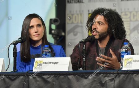 """Jennifer Connelly, Daveed Diggs. Jennifer Connelly, left, and Daveed Diggs participate in the """"Snowpiercer"""" panel on day three of Comic-Con International, in San Diego"""