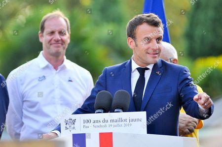Christian Prudhomme, Francois Bayrou and Emmanuel Macron