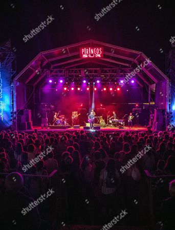 Jorge Drexler (C) performs on stage during the 2019 Pirineos Sur International Festival of Cultures in Lanuza, Spain, 20 July 2019. The festival will run from 12 July to 28 July 2019.