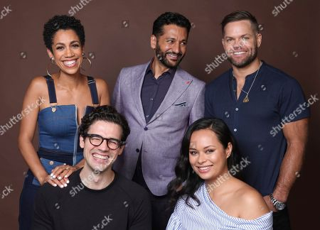 "Dominique Tipper, Cas Anvar, Wes Chatham, Steven Strait, Frankie Adams. Dominique Tipper, from background left, Cas Anvar, Wes Chatham, and from foreground right, Steven Strait and Frankie Adams pose for a portrait to promote the television series ""The Expanse"" on day three of Comic-Con International, in San Diego"