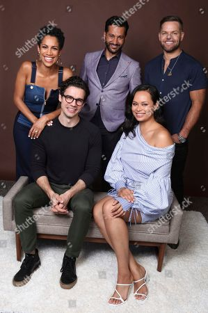 """Stock Image of Dominique Tipper, Cas Anvar, Wes Chatham, Steven Strait, Frankie Adams. Dominique Tipper, from background left, Cas Anvar, Wes Chatham, and from foreground right, Steven Strait and Frankie Adams pose for a portrait to promote the television series """"The Expanse"""" on day three of Comic-Con International, in San Diego"""