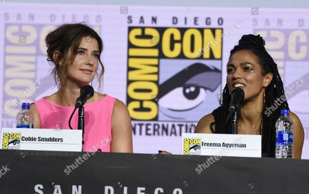 Cobie Smulders, Freema Agyeman. Cobie Smulders, left, and Freema Agyeman participate in the EW: Women Who Kick Ass panel on day three of Comic-Con International, in San Diego