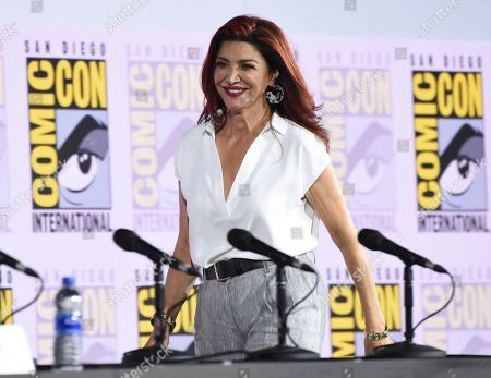 Shohreh Aghdashloo walks on stage at the EW: Women Who Kick Ass panel on day three of Comic-Con International, in San Diego