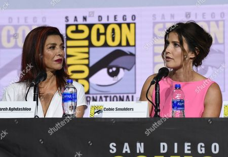 Shohreh Aghdashloo, Cobie Smulders. Shohreh Aghdashloo, left, and Cobie Smulders participate in the EW: Women Who Kick Ass panel on day three of Comic-Con International, in San Diego