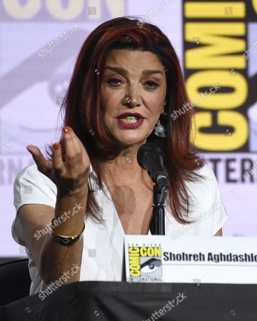 Shohreh Aghdashloo speaks at the EW: Women Who Kick Ass panel on day three of Comic-Con International, in San Diego