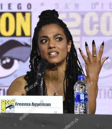 Freema Agyeman speaks at the EW: Women Who Kick Ass panel on day three of Comic-Con International, in San Diego