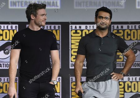 Richard Madden, Kumail Nanjiani. Richard Madden, left, and Kumail Nanjiani attend the Marvel Studios panel on day three of Comic-Con International, in San Diego
