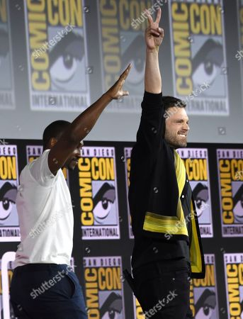Sebastian Stan, Anthony Mackie. Sebastian Stan, left, and Anthony Mackie gesture to the audience at the Marvel Studios panel on day three of Comic-Con International, in San Diego