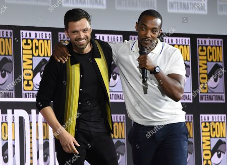 Sebastian Stan, Anthony Mackie. Sebastian Stan, left, and Anthony Mackie participate in the Marvel Studios panel on day three of Comic-Con International, in San Diego