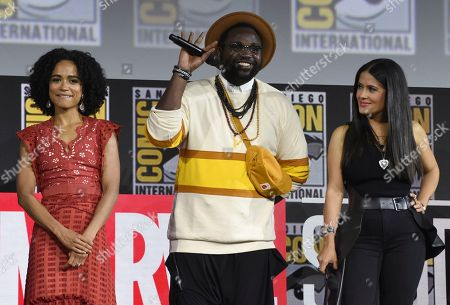 Lauren Ridloff, Brian Tyree Henry, Salma Hayek. Lauren Ridloff, from left, Brian Tyree Henry and Salma Hayek participate in the Marvel Studios panel on day three of Comic-Con International, in San Diego